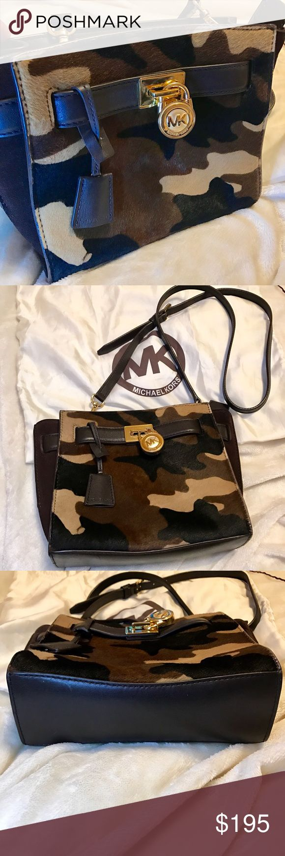 """Michael Kors Camo Crossbody Beautiful calf hair and leather cross body bag. Perfect for someone who loves camouflage and smaller bags! Only carried once, comes from a smoke free home, and has no stains or signs of wear...looks brand new! 8.4""""L x7""""H x 4""""W No trades, open to reasonable offers! Michael Kors Bags Crossbody Bags"""