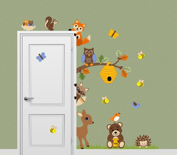 Forest Friends Animal Decal Honey Bear Fox Deer Bee Woodland Peeking Door Hugger…