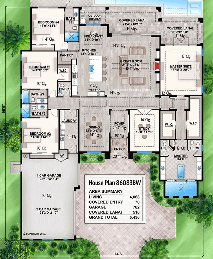 Plan 86083BW: One-level Beach House Plan with Open-Concept Floor Plan