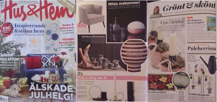 Varia & Globe featured in swedish Hus & Hem, Christmas edition!