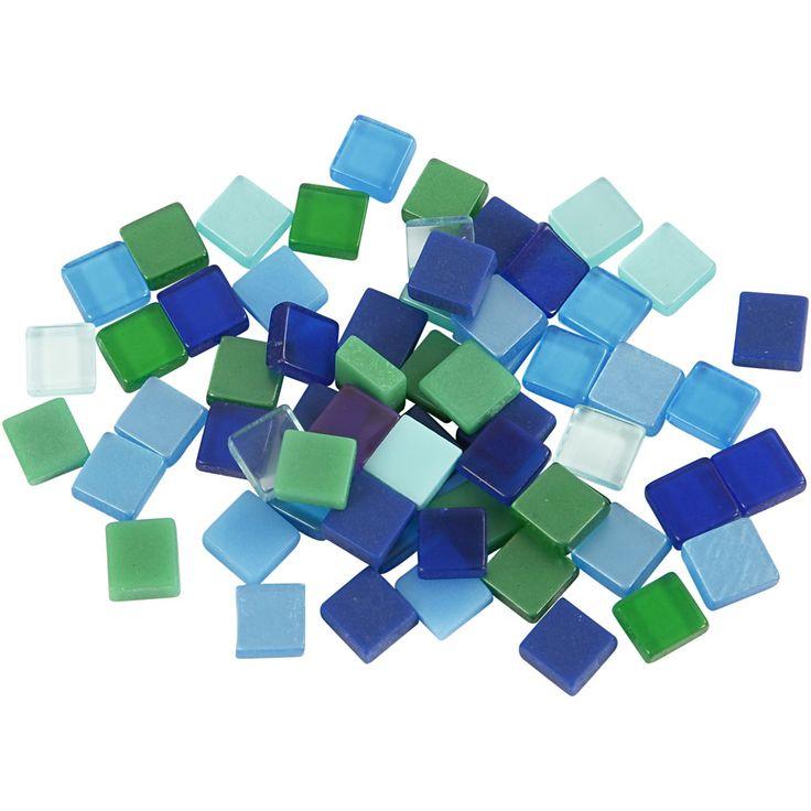 Minimosaik, 5x5 mm, blå/grøn harmoni, 25 g
