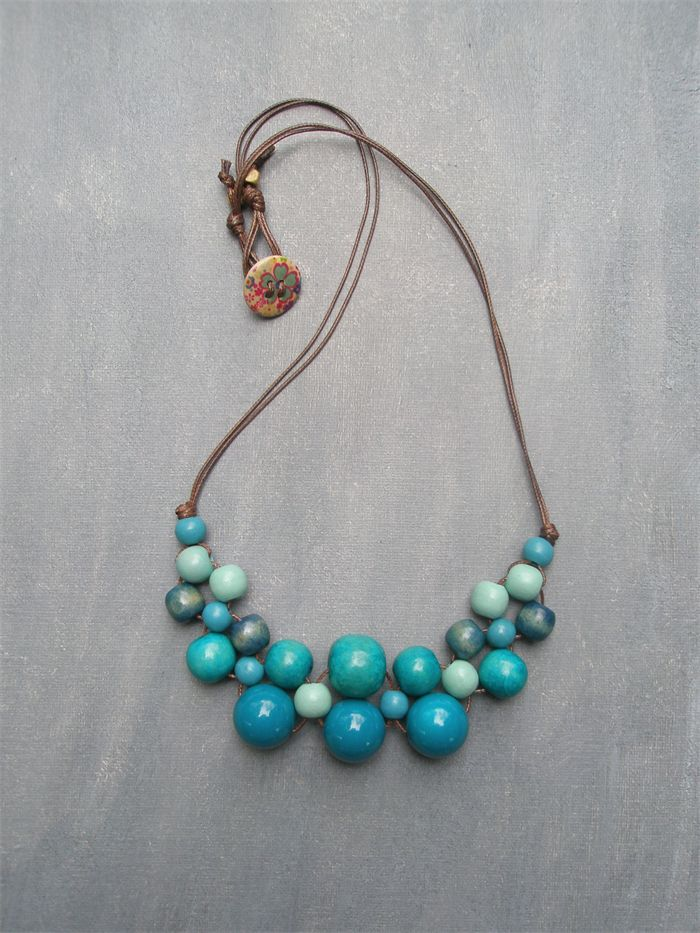 Blue Bib Wooden Bead Necklace