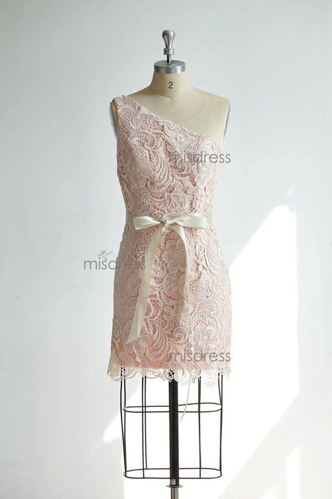 One Shoulder Ivory Lace Pink Ling Short Bridesmaid Dress