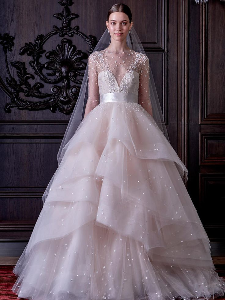 Monique Lhuillier strapless paillette tulle wedding dress from Spring 2016