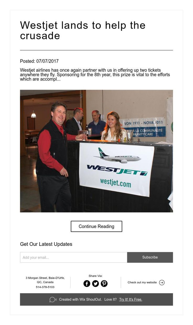 Westjet lands to help the crusade