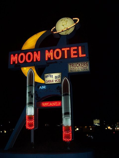 Moon Motel vintage neon sign~ waterbeds, cable tv, VCR and 2 giant vibrators. lol