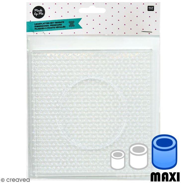 Placa cuadrada para perlas para planchar Maxi - Pegboards - 14 x 14 cm - 2 uds