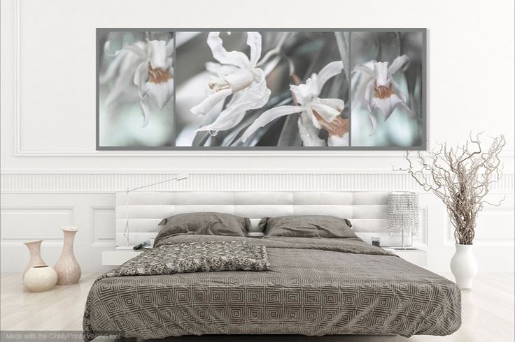Silver Melody. Triptych by Jenny Rainbow,   Macro photography of white orchids flowers. Elegant and stylish triptych for home decor with shabby chic, modern or boho style  Image available as canvas acrylic prints and metal prints. To buy the prints simply click on image and you will get on shop page where you can find a right matherial of print and right size for your living space.  #JennyRainbowFineArtPhotography  Art for home, home decor, wall art, interior design, shabby chic collection