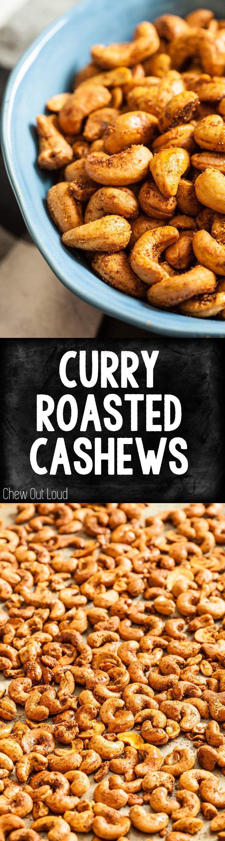 These Curry Roasted Cashews are robust in flavor, slightly spicy, and 200% yummy. Healthy to boot! #appetizers #snacks #healthy