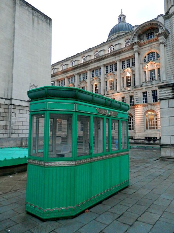 A restored original Mersey Tunnel toll booth, sited at Georges Dock by the tunnel ventilation building.