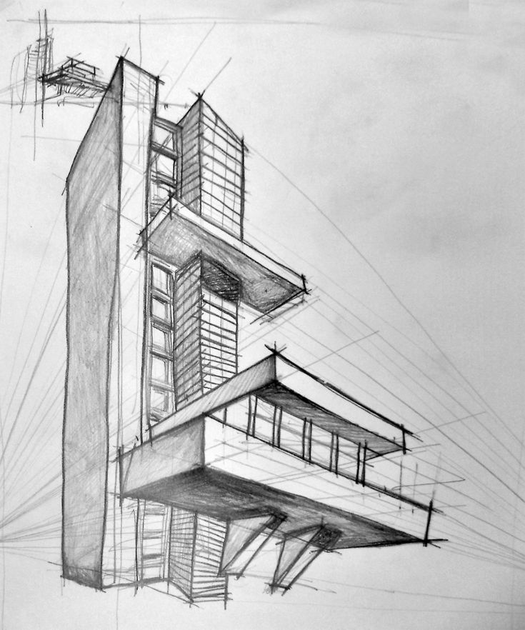 Interesting Simple Architectural Sketches Perspective Proportions Are All Messed Up Because Of The Vanishing Points Being Too On Decor
