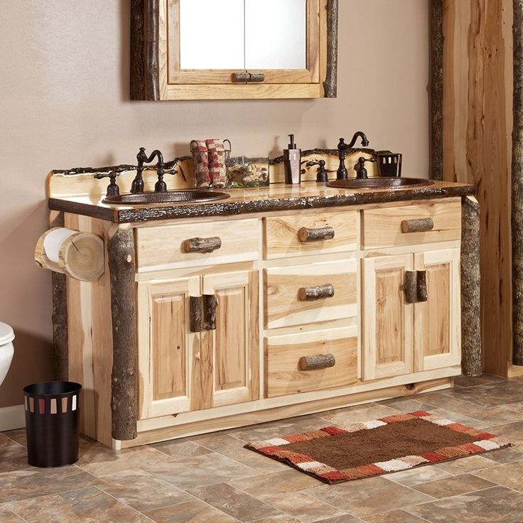 real hickory log vanity from logfurnitureplace features solid hickory
