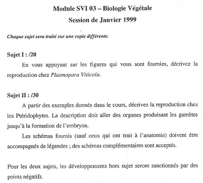 [Sujet] Biologie végétale – DEUG – janvier 1999 – Biodeug