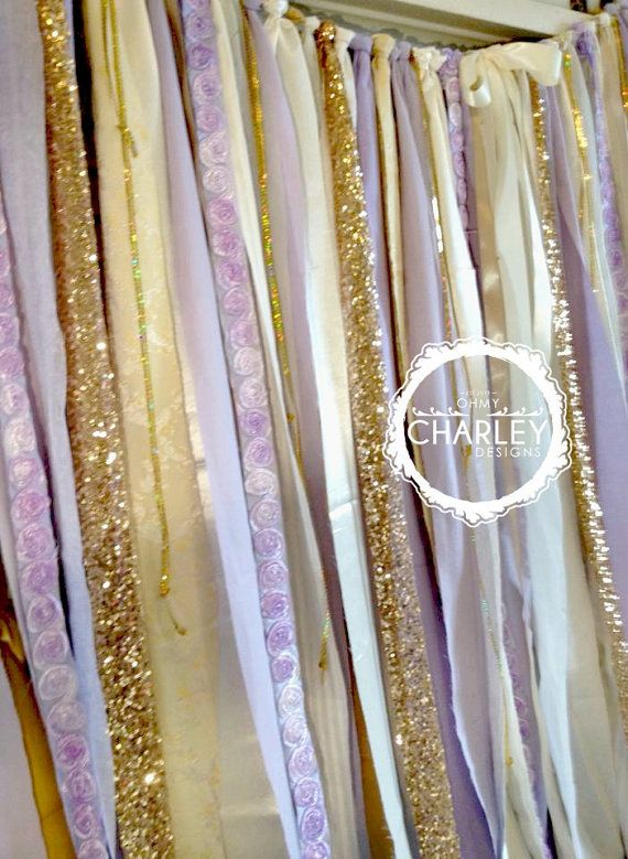 Lavender and Gold Sparkle Sequin Fabric Backdrop by ohMYcharley