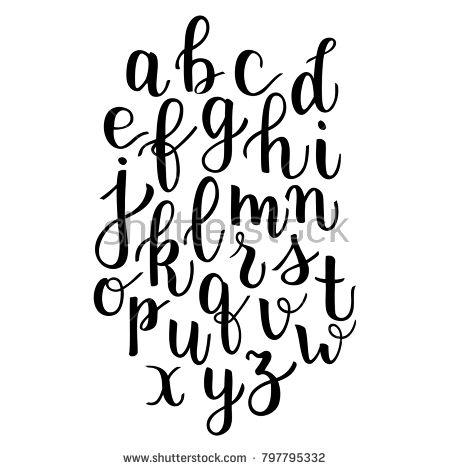 Modern calligraphy bounce lettering alphabet hand written letters apart elements…