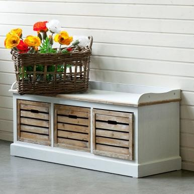 Lots of storage space and old-fashioned seating comfort in one! This bench combines all practicalities. With three removable boxes. Bring the unspoilt magic of the South of France into your home with the Campagne range. The country house-style light-coloured furniture and living accessories show slight signs of wear and tear – as if you've grown to love them over many years. Each item emphasises the personal character of your home – and is only suitable for indoor use.