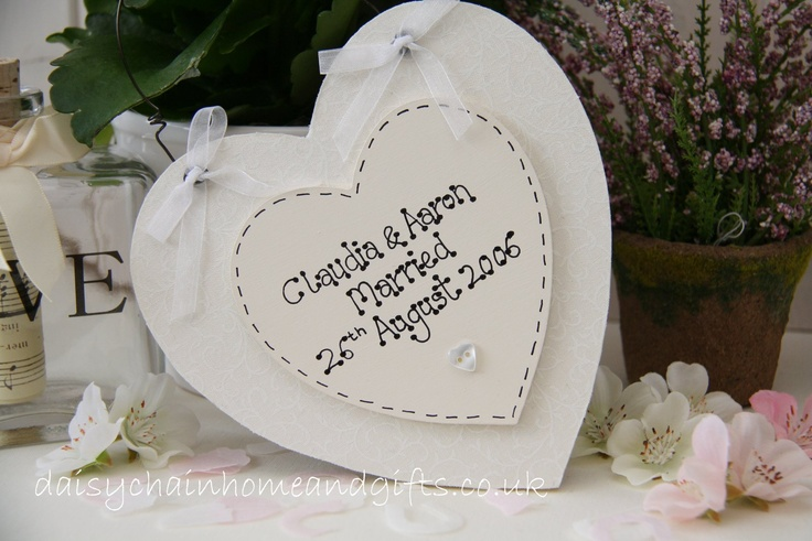 Handmade personalised Wedding Heart Plaque with a fabric background.