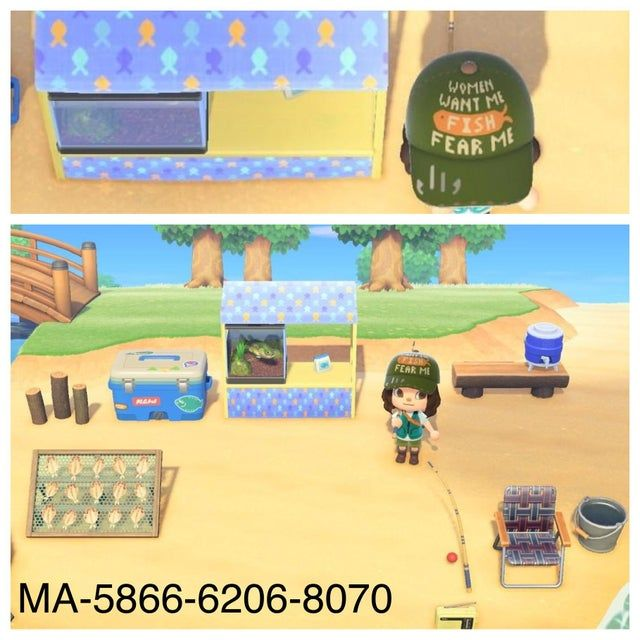 A Little Late For The Fishing Tourney But My Fish Stand And Fishing Hat Creator Code Ma 5866 6206 New Animal Crossing Animal Crossing Fish Animal Crossing