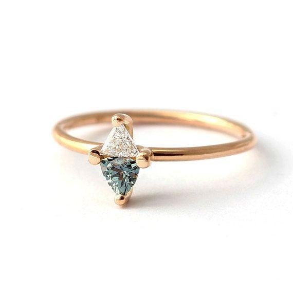 Bague de fiançailles en saphir saphir & diamant bague de