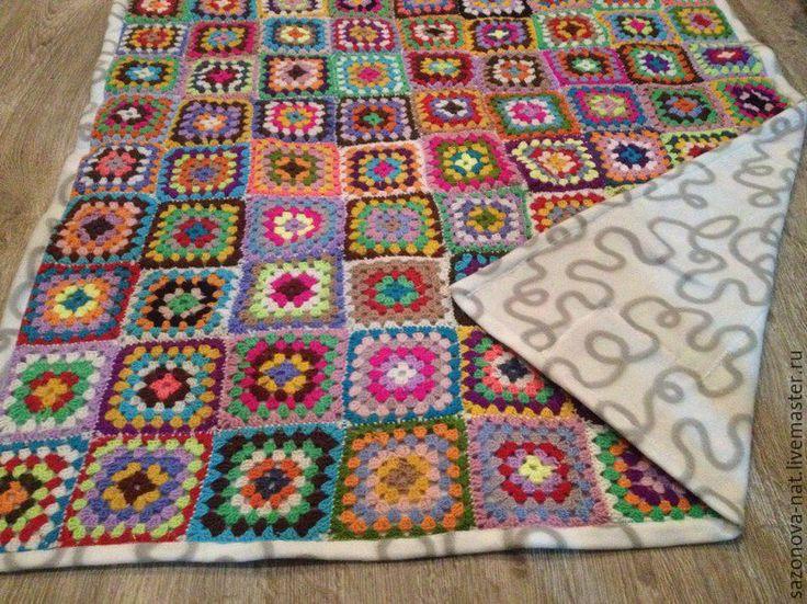 Купить Детский плед из бабушкиных квадратов - разноцветный, Вязание крючком, плед, плед вязаный