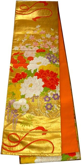 Japanese traditional 'fukuro' obi belt with flowers on carts motif, 1960's | Material: silk brocade