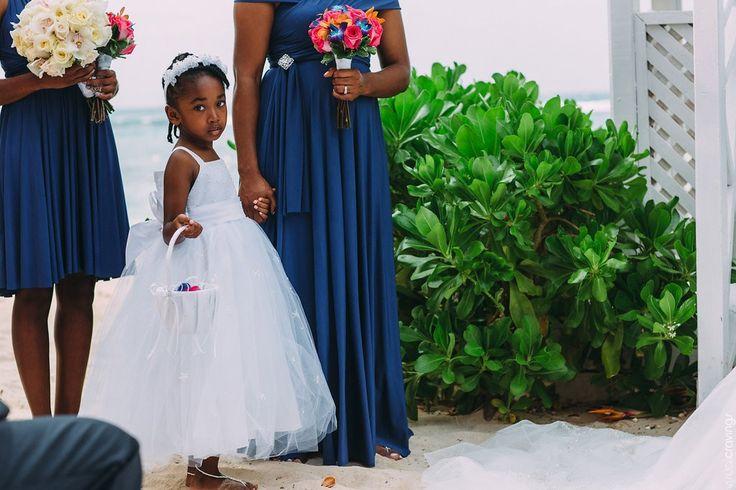 Adorable flower girl  ceremony Riu Ocho Rio's Jamaica http://bit.ly/1FBzCot @riuhoteles #lizmooreweddings