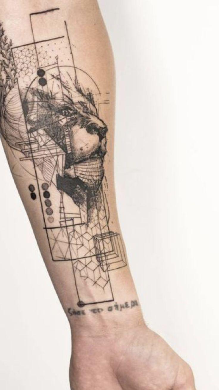 Löwen Tattoo Unterarm