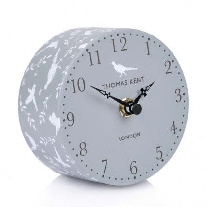 Thomas Kent Portobello Pheasant Clock - 4 inch - grey mantel clock