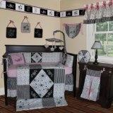 Custom Baby Bedding - Black White Pink 13 PCS Crib Bedding Set