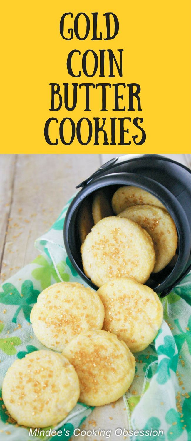 Looking for a last minute St. Patrick's day treat?  Try these gold coin butter cookies!  They are easy, sweet and just might bring you good luck! via @https://www.pinterest.com/mindeescooking/