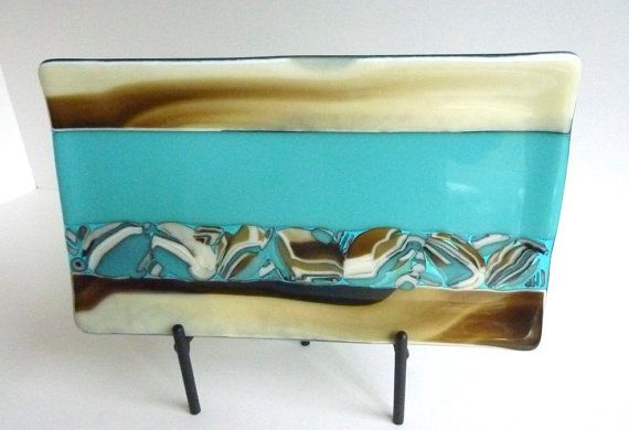 Fused Glass Tray in French Vanilla Turquoise and by bprdesigns