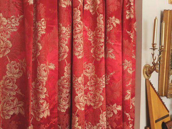 Vintage Red Brocade Curtain Panels Pair Of Red Brocade
