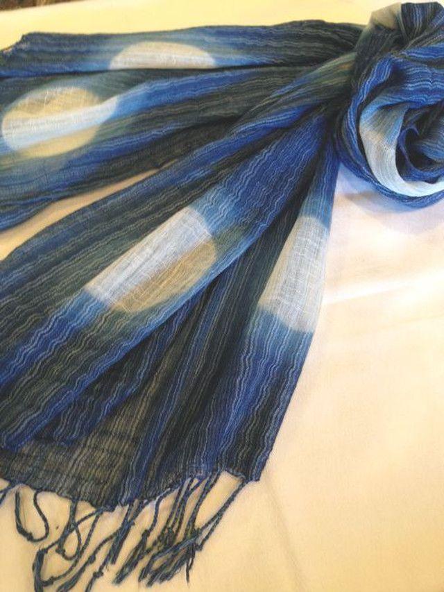 Itajime shibori scarf by blueblue
