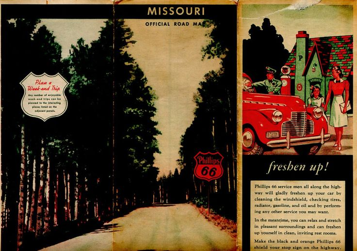 Vintage Phillips 66 Missouri Road Map, 1940s Travel Map, Gas Station Advertising, Old Petroliana by vintagebarrel on Etsy https://www.etsy.com/listing/151319548/vintage-phillips-66-missouri-road-map