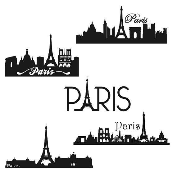 Paris France Skyline Cuttable Design SVG DXF EPS by CuttableSVG