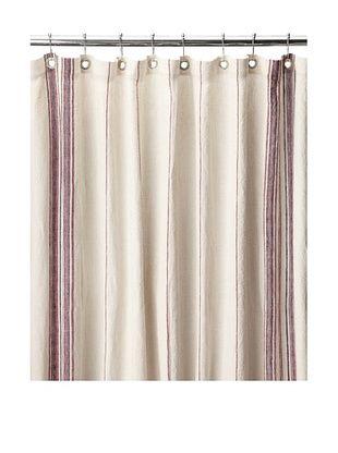 55% OFF Coyuchi Rustic Linen Shower Curtain, Natural/Red/Indigo