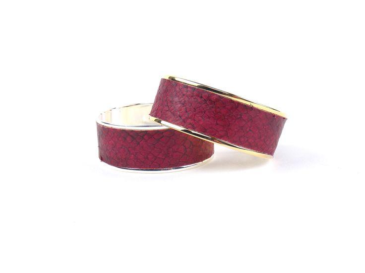BAÏNES Cuir de mulet rouge aux reflets bronze (23 mm)