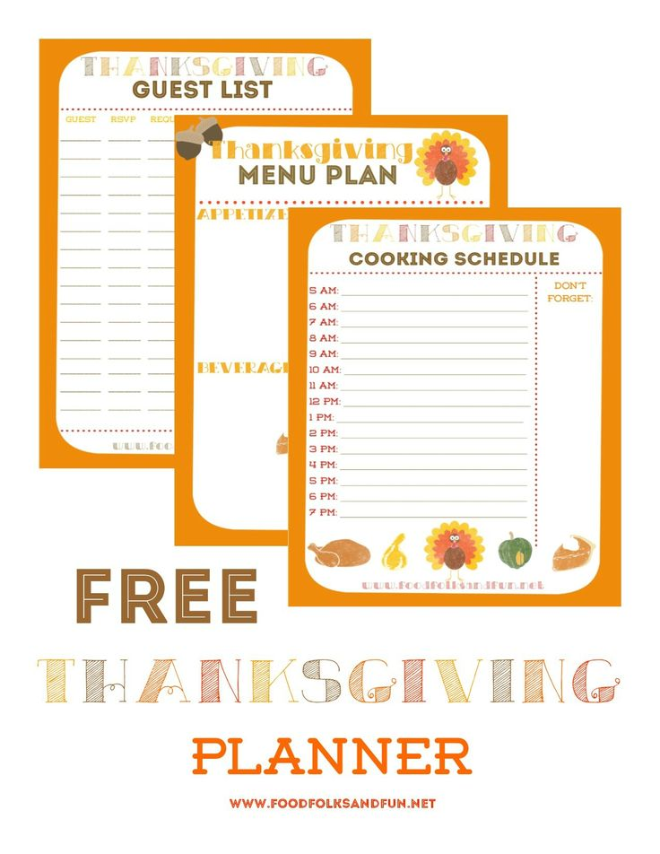 Free Thanksgiving Planner with 5 Printables to help keep you organized: Thanksgiving Guest List Planner, Thanksgiving Menu Planner, Thanksgiving Recipe List Planner, Thanksgiving Wednesday Prep List, and Thanksgiving Cooking Schedule Planner | www.foodfolksandfun.net