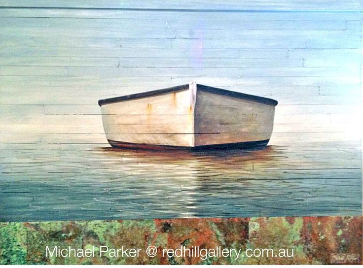 "Michael Parker painting ""Across The Bay"" 120x90cm Red Hill Gallery, Brisbane. redhillgallery.com.au"