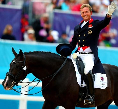 Carl Hester of Great Britain riding Utopia in the Team Dressage Grand Prix Special