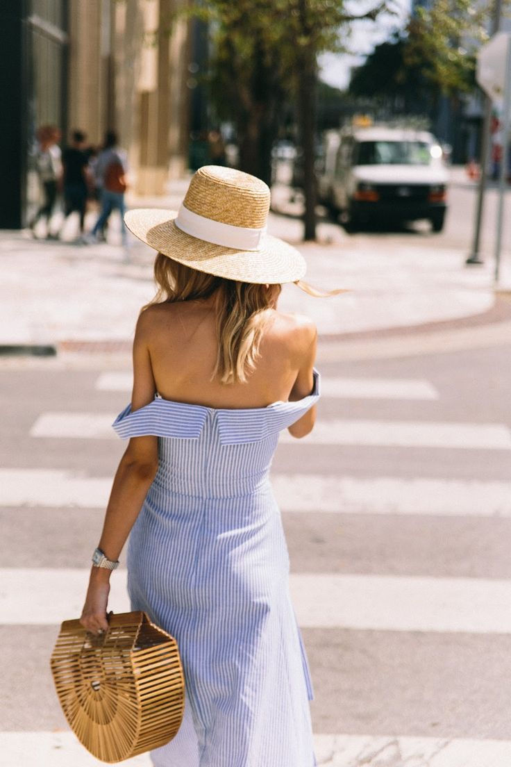 Spring Style, blue and white stripe poplin off the shoulder dress, arc bag, straw hat..