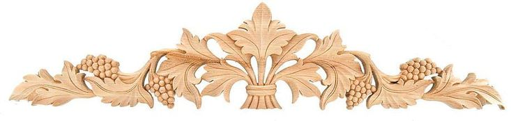"CorbelPlace.com | Applique / Cartouches / 7-3/8""H X 36""W X 3/4""D - embossed wood, kitchen cabinet appliques, oak appliques,carved wood molding, large appliques, decorative wood appliques for furniture, wooden flowers for sale 