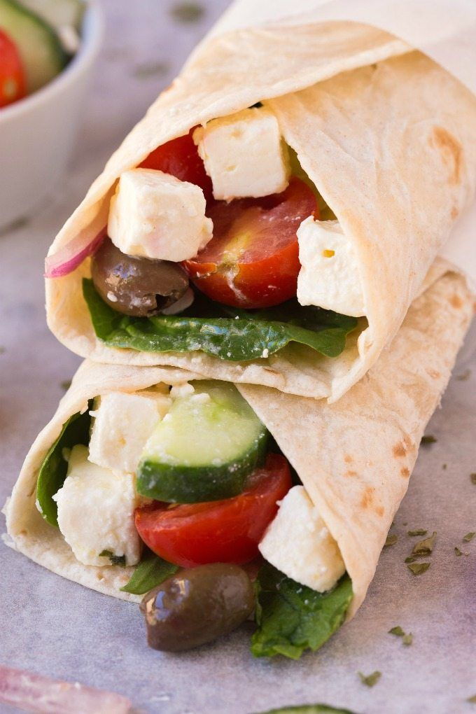Healthy Greek Salad Wraps- Weight watchers approved Greek Salad wraps loaded with fresh veggies and creamy feta- The perfect lunch!