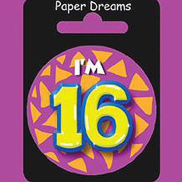 I am 16 verjaardag button. Feestelijke button met daarop Im 16. Leuke button voor iemand die zijn of haar verjaardag viert.