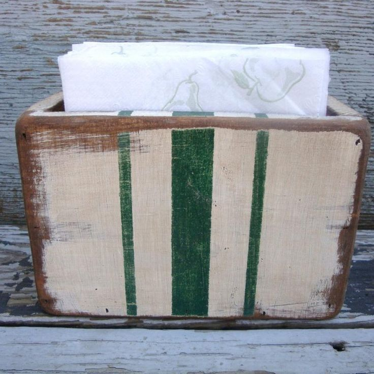 Rustic Grain Sack Striped Wood Napkin Holder Country Decor Kitchen Farmhouse Rustic Distressed Painted Wood Upright