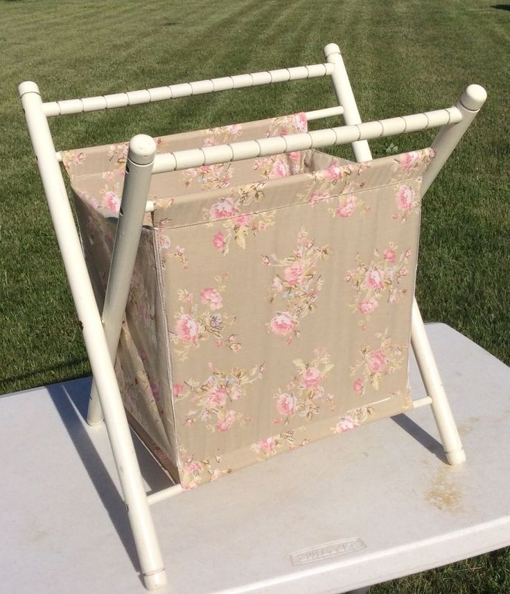 Vintage Folding Sewing Crochet Knitting Basket Stand Portable Wood Pink Roses