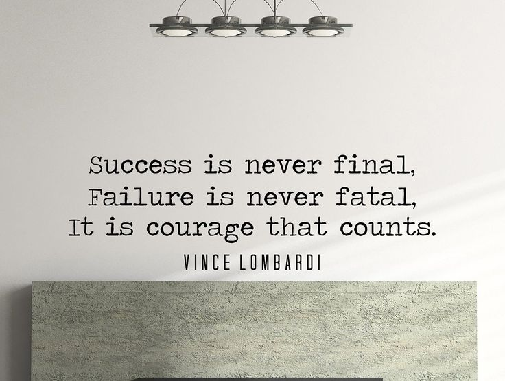 "Vince Lombardi Quote Motivational Typography Wall Decal Office Home Décor ""Success Is Never Final"" 42x14 Inches"