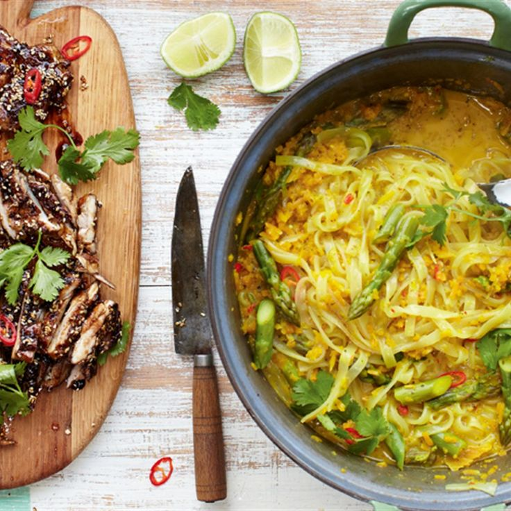 Try this Thai Chicken Laksa - Mildly Spiced Noodle Squash Broth recipe by Chef Jamie Oliver. This recipe is from the show Jamie's 15 Minute Meals.