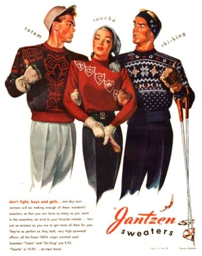 40s sweater jantzen - Google Search novelty print ad winter ski red blue black snowflake