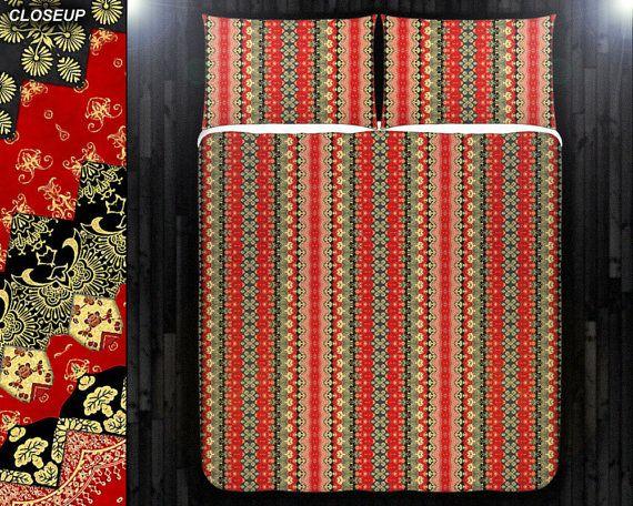 Red Gold Black Persian Asian Batik Duvet Cover Bedding Queen Size King Twin Blanket Sheet Full Double Comforter Toddler Daybed Kid Teen Dorm